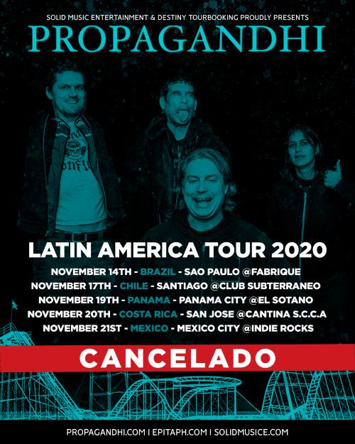 PROPAGANDHI CANCEL NEWS